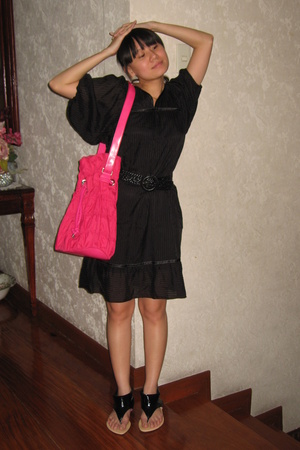 Mango dress - Uniqlo belt - Zara purse - shoes