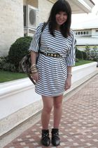 black H&M belt - gold from hong kong purse - white department store find dress -