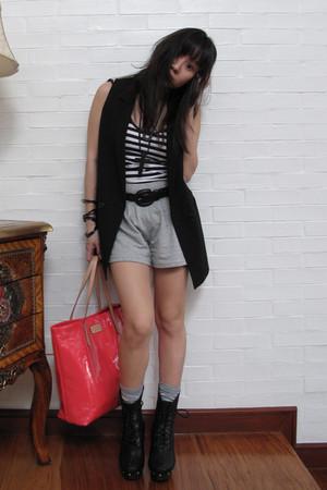 black Uniqlo blazer - white Mango top - gray sm department store shorts - black