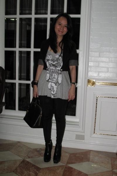 Luca blazer - Zara top - giordano leggings - Louis Vuitton purse - sam edelman s