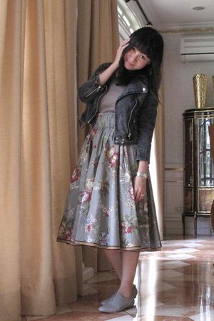 black from hong kong jacket - brown Topshop top - gray H&M skirt - gray Giordano