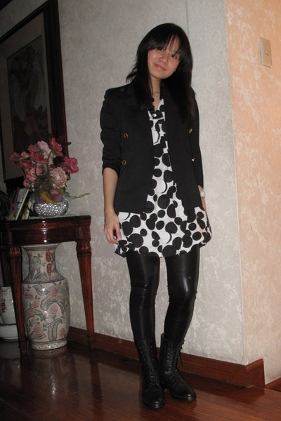 black Le Saunda boots - white no tag dress - black no tag leggings