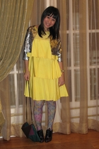 silver Grab jacket - yellow Zara dress - purple Leg Love stockings - green H&M t