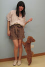 Beige-h-m-blouse-brown-h-m-shorts-beige-giordano-ladies-shoes