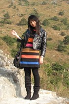 black H&M jacket - orange KT for PD dress - black Giordano Ladies leggings - bla