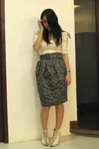 bench t-shirt - Rico Salandanan skirt - tonic boots - Louis Vuitton purse