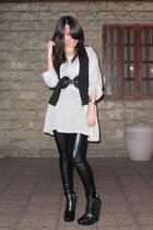 Giordano Concepts vest - belt - top - BSX leggings - sam edelman boots