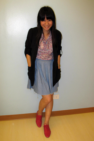 black Giordano Ladies blazer - pink Meg blouse - blue thrifted skirt - pink Schu