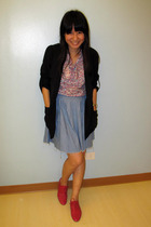black Giordano Ladies blazer - pink Meg blouse - blue thrifted skirt - pink Schu