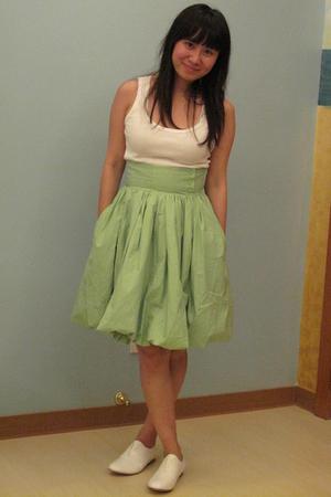 green H&M skirt - white Topshop vest - white Giordano Ladies shoes