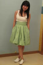 green H&M skirt - white Topshop vest - white Giordano Ladies shoes