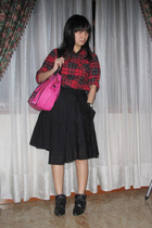 Uniqlo shirt - Giordano Ladies skirt - shoes - purse