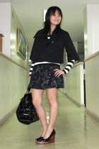 giordano jacket - Uniqlo t-shirt - skirt - shoes - Zara purse