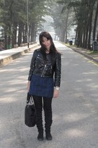 black H&M jacket - blue Marc by Marc Jacobs dress - black purse - black Juan boo