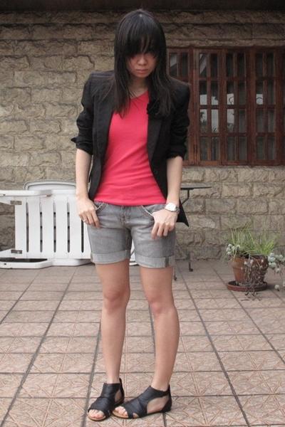 black Zara blazer - black prp shoes - gray Mango shorts