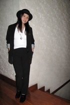 Topshop hat - Zara blazer - giordano t-shirt - Topshop pants - Forever21 shoes -