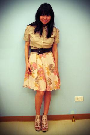 beige Zara belt - beige Forever 21 shirt - pink Shang skirt - pink Parisian Jr s