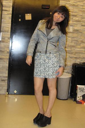 blue vintage t-shirt - gray bysi jacket - blue Pink Manila skirt - black vintage