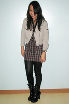 H&M jacket - Topshop dress - from Korea leggings - Mango boots