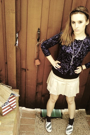 purple Forever21 cardigan - beige American Eagle skirt - blue Keds shoes