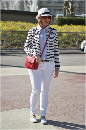 white Oysho shoes - white el corte ingles hat - white eseoese jacket