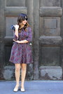 Purple-floral-h-m-dress-beige-leather-seychelles-heels
