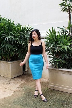 turquoise blue Accessorize skirt - dark gray Nine West shoes