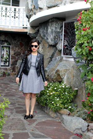 black gingham top - black faux leather H&M jacket - black madewell loafers