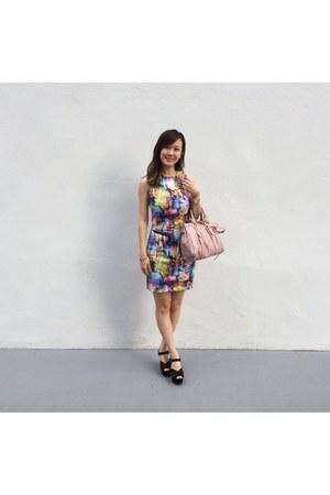 black shoes - blue dress - light pink Miu Miu bag