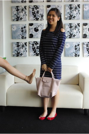 red shoes - pink longchamp bag - blue Paul Frank dress - white pearl hairband ac