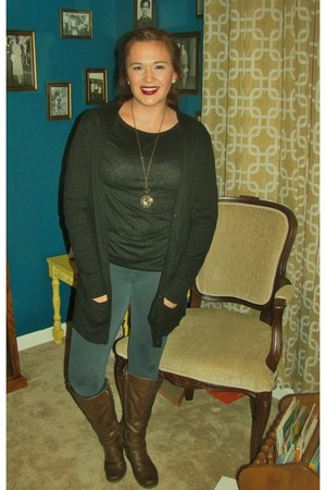 Etsy necklace - boots - leggings - Old Navy cardigan - Old Navy t-shirt