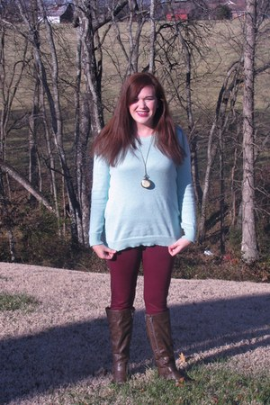 boots - Old Navy sweater - Walmart leggings - necklace