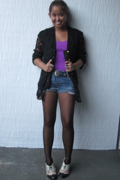 purple top - Forever 21 shoes - Topshop tights - black Cote D Azur blazer