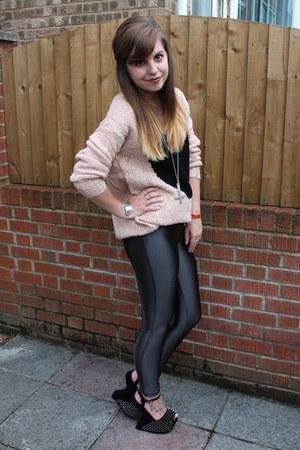 black Runway Shoes heels - black Glamorous leggings - nude AX Paris jumper