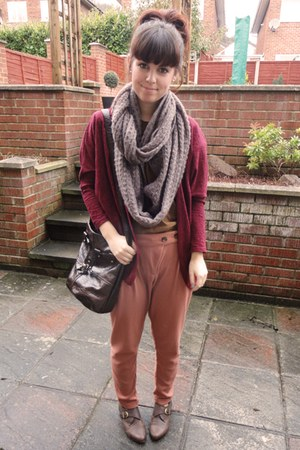 light pink Topshop scarf - burnt orange Topshop t-shirt - coral asos pants - mar