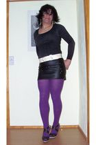 purple Fiore tights - black Feldbusch shirt - black no brand shoes - black no br