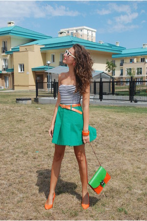 chartreuse vintage skirt - carrot orange vintage bag - ivory Mango sunglasses