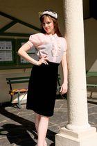 pink vintage blouse - black vintage skirt