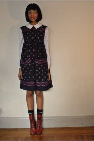 ruby red vintage boots - blue Anna Sui dress - ivory sweet rocket 99 shirt - blu