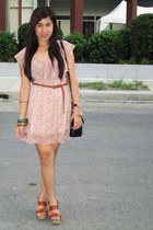 light pink thrifted dress - black luis moda purse - Girl Shoppe accessories