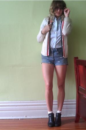 vintage sweater - vintage shirt - vintage shorts - vintage shoes - vintage purse