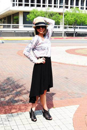 fish tail black nine skirt - fedora Forever 21 hat