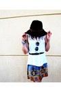 Indie-print-rue-21-dress-black-belted-forever21-hat-bangles-rue-21-bracelet