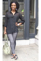 black skinny jeans blue society jeans - charcoal gray black skirt shirt