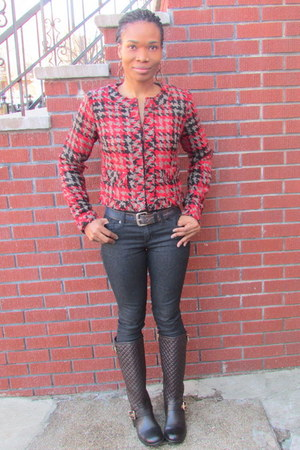 leather Vince Camuto boots - jeans Forever21 jeans - tweed calvin klein jacket