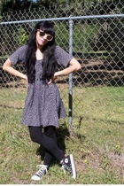 thrifted dress - American Apparel tights - Converse shoes - thrifted glasses