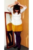 JCrew via Buffalo Exchange shirt - American Apparel skirt - forever 21 tights -