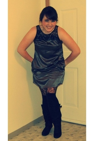 Forever21 dress - Forever21 tights - Target socks - Steve Madden boots