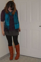 Street vendor in NYC scarf - Target sweater - Old Navy dress - vintage via Ebay