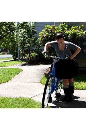 American Apparel shirt - Norma Kamali for Walmart skirt - Steve Madden boots - T